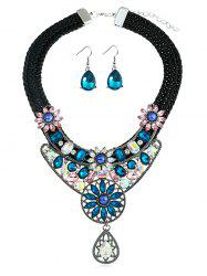 Artificial Crystal Flower Teardrop Design Earrings Necklace -
