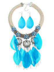 Shiny Colored Rhinestone Inlaid Fringed Necklace and Earrings Suit -
