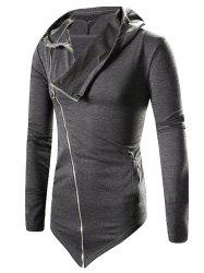 Asymmetric Zip Up Solid Hoodie -