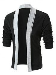 Cardigan Long Ouvert en Avant en Blocs de Couleurs -