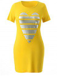Plus Size Heart Graphic T-shirt Dress -