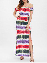 Tie Dye Off The Shoulder Maxi Dress -