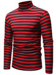 Striped High Neck Long Sleeve T-shirt -