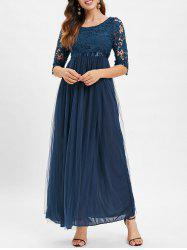 Lace Panel High Waisted Maxi Tulle Dress -