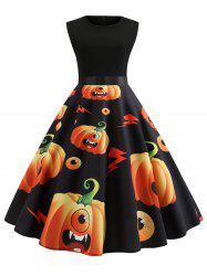 Halloween Pumpkin Print Sleeveless Vintage Dress -