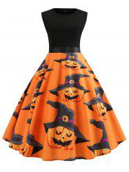Witch Pumpkin Print Halloween Vintage Dress -