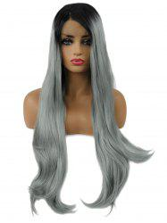 Long Ombre Side Parting Straight Synthetic Lace Front Wig -