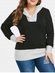 Plus Size Button Embellished Color Block Hoodie -