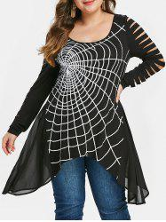 Plus Size Halloween Graphic Ripped T-shirt -