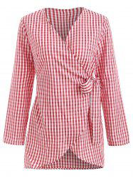 Gingham Wrap Blouse -