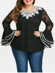 Plus Size Flare Sleeve Contrast Lace Blouse -