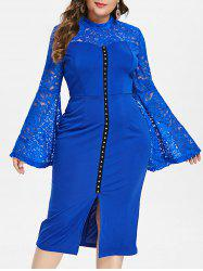 Plus Size Flare Sleeve Lace Insert Bodycon Dress -