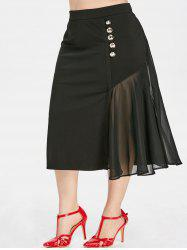 Plus Size High Rise Spliced Midi Skirt -