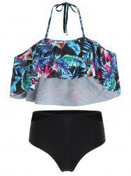 Halter Palm Print High Waist Bikini Set -