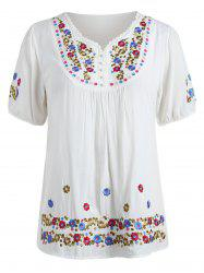 Floral Embroidery Plus Size Short Sleeve T-shirt -