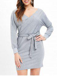 Cut Out Belted Surplice Dress -