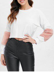 Faux Fur Insert Crop Sweatshirt -
