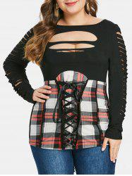 Ladder Cut Out Plus Size Plaid T-shirt -