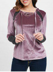 Criss Cross Collar Velvet Hooded T-shirt -