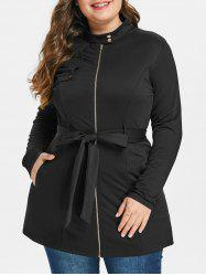Plus Size Zipped Belted Coat -