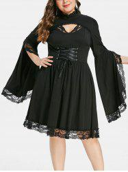 Plus Size Halloween Lace Insert Corset Dress -
