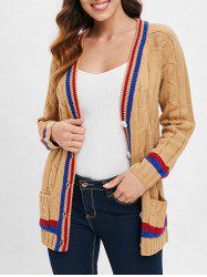 Striped Trim Button Cable Knit Cardigan -