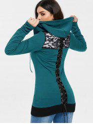 Criss Cross Back Lace Insert Zipper Hoodie -