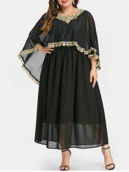 Plus Size Contrast Lace Maxi Capelet Dress -