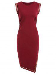 Sleeveless Rivet Embellished Bodycon Dress -