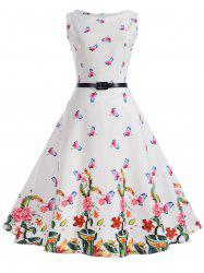 Vintage Butterflies Floral Pin Up Dress -