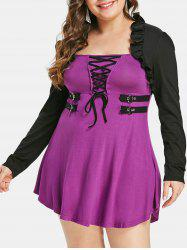 Plus Size Halloween Lace Up Color Block T-shirt -