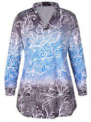 Plus Size Long Sleeves Gradient Color Abstract Print Mini Dress -