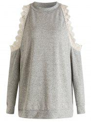 Plus Size Lace Splicing Cold Shoulder Sweatshirt -