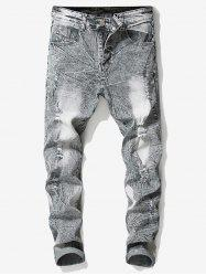Retro Faded Ripped Wrinkled Elastic Jeans -