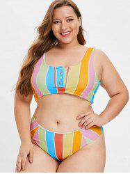 Colorful Stripe Buttoned Plus Size Bikini Set -
