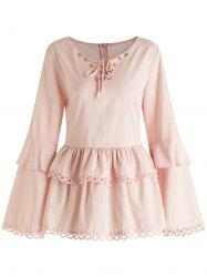Plus Size Lace Hem Lace Up Flare Sleeves Frill Blouse -