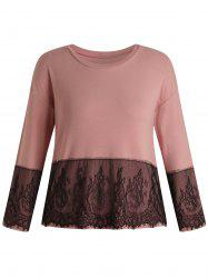 Plus Size Crew Neck Lace Panel T-shirt -
