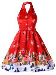 Plus Size Christmas Print Vintage Dress -