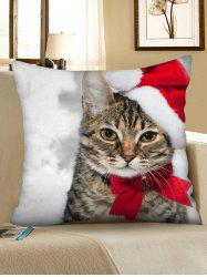 Christmas Cat Printed Decorative Throw Pillow Case -