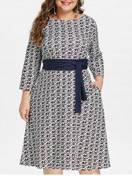 Printed Plus Size Round Neck Fit and Flare Dress -