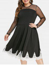 Plus Size Lace Trim High Waist Dress -