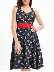 Halloween Skulls Print Sleeveless Vintage Dress -