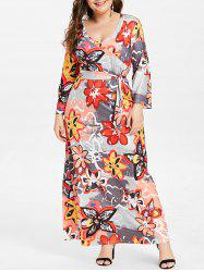 Plus Size Belted Floral Print Maxi Dress -