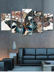 Butterfly and Flowers Print Unframed Split Canvas Paintings -