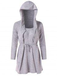 Tie Knot Faux Twinset Hoodie -