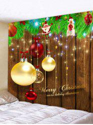 Christmas Ball Wood Grain Print Tapestry Wall Hanging Decoration -