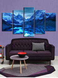 Unframed Mountains and Lake Print Split Canvas Paintings -