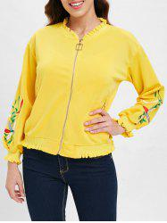 Floral Embroidered Ruffles Zipper Fly Jacket -