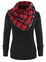 Round Neck Sweatshirt with Tartan Neck Gaiter -