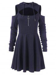 Cut Out Full Sleeve Flare Hooded Dress -